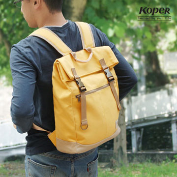[TAITRA] KOPER [Extraordinary] Retro Duo-Buckle Backpack / Canvas Bag - Sunshine Yellow