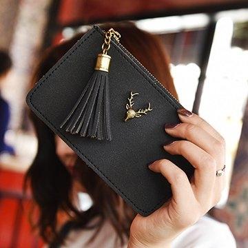 กวางง่ายและสง่างามฝอยถุงซิปสีดำ