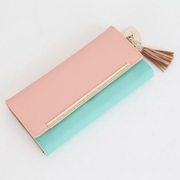 OMNIA CRYSTAL anti-scratch South Korea tassel female long folder (leather) sweet pink blue gold tricolor