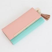 OMNIA CRYSTAL anti-scratch South Korea tassel female long folder (leather) sweet pink blue gold tricolor