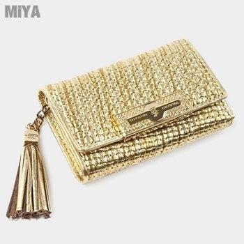 (MiYA OMNIA FROMb)MiYA Ronian Italian leather and gold tassel diamond female Wallets (sheepskin) Gold