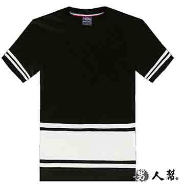 (男人幫)[Men] T1132 * [cuff stripe hem stitching plain short-sleeved T-shirt]