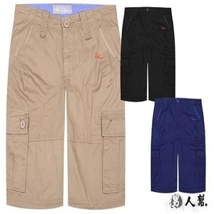 (แก๊งผู้ชาย)[FHM] K0383 * [กางเกงขาสั้นผ้ารูดผ้าหนาแข็งสไตล์อเมริกันสไตล์ลำลอง] งานหนักสีดำ