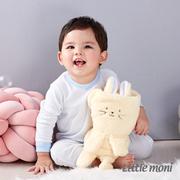 (Little moni)Little moni cotton home series striped long sleeve one-piece dress - pink purple blue