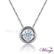 (WINGS)Wings Halo single drill necklace 925 sterling silver fine white gold gold with eight heart eight arrows zircon