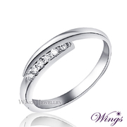 (WINGS) Hope แหวนชุบทองเค สีขาว ตัวเรือนบาง สไตล์หรูหรา