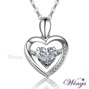 (WINGS)Wins Simple Love Necklace 925 Sterling Silver Fine White Gold Gold Cube Zircon