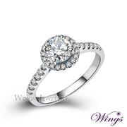 (WINGS) แหวนเงินประดับเพชร ทรงคลาสสิก แพทเทิร์นลูกศร