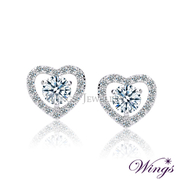(WINGS)Pegasus Wings Hearts and Arrows love shining cubic zirconia diamonds imported refined white K gold plated earrings