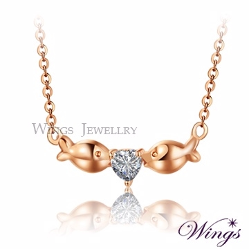 (WINGS)Wings love kissing fish rose Jinfang Jing Jing plated zircon necklace NW199
