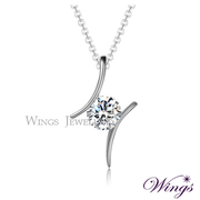 (WINGS)Aurora Wings Hearts and Arrows imports Cubic Zirconia Necklace