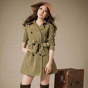 [Ninisweety] J09014 easily washed sanding retro double-breasted military green windbreaker