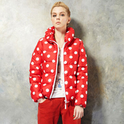 [Ninisweety] retro big wave point down jacket J11046 (red M)