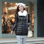 [802] Ninisweety bow elastic hem fur collar Korean Slim Long cotton jacket (black)