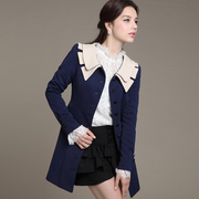 [Ninisweety] Korean version of Slim doll collar long double coat (of two-color)