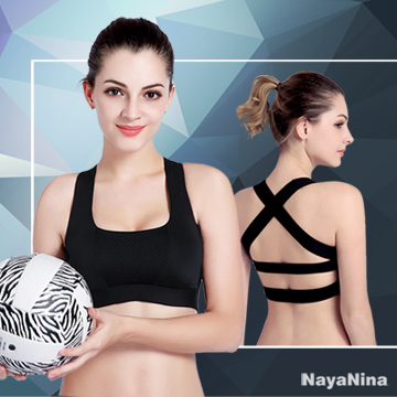(Naya Nina)【Naya Nina】 breathable mesh cross-back no rims sports underwear S ~ L (black)