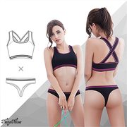 (Naya Nina)【Naya Nina】 Sports underwear shockproof steel ring sports underwear group (wide shoulder + thong) - black