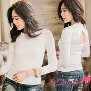 lingling A2624-01 style back hollow triangular plain round neck long-sleeved shirt (brightest white)