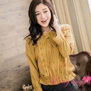 lingling A2615-03 elegance tie knot tightness Bulei Si flounced shirt (elegant mustard yellow)