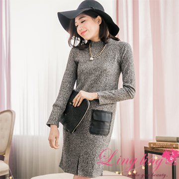 lingling A2753-02 temperament actress plain weave touch front slit pocket hit color leather dress (temperament gray)
