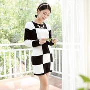[Ninisweety] j08095 ผู้หญิงเกาหลีอารมณ์ลายสก๊อตใหญ่กระโปรงทำด้วยผ้าขนสัตว์ลายสก๊อตกระโปรงสองชิ้นถักฐาน (ตาหมากรุก)