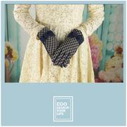 (ego life)[Ego life] elegant houndstooth bow women warm fleece gloves