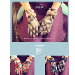 (ego life)[Scotland] ego life style bow wool cashmere warm gloves female touch