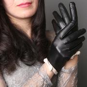 (ego life)[Ego life] sheepskin white bow full touch mittens black