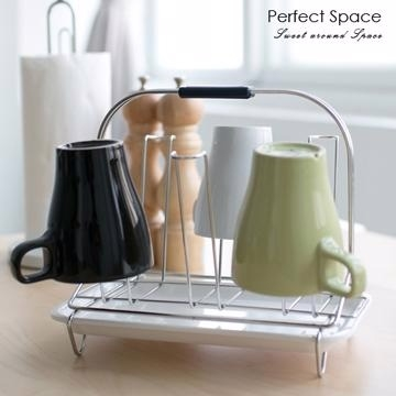 [TAITRA] 《Comfort Home》Stainless Steel refinement Cup/Mug Rack (Available for 6 Cups/Mugs) (with White Base Plate)