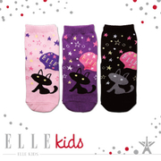 (ELLE)ELLE KID'S Night Cat sky socks
