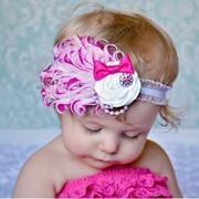 (UNICO-LIFE)UNICO-LIFE European and American children with diamond feather rose headband