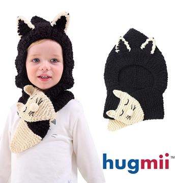 Hugmii หมวกไหมพรมรูปสัตว์สำหรับเด็ก แมวดำ