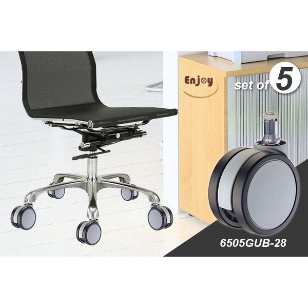 [TAITRA] Enjoy Caster PU Caster Wheel: Office Chair Casters: 6505GUB-28 (1 Set of 5 Casters)