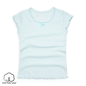 (anny pepe)Anny pepe underwear - combed American cotton girl dots short sleeves - light blue
