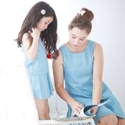 ที่มีคุณภาพสูงออกแบบอเมริกันแบรนด์ของผู้หญิงชุดแม่ / น้องสาว - ชุดคลาสสิก (รุ่นผู้ใหญ่ / เด็กส่วน) / (สีน้ำตาล / สีฟ้าหลวง)