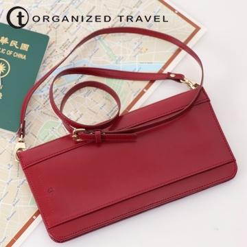 (【OT 旅遊配件】肩背式護照包 名媛紅)[OT] shoulder-style passport travel accessories bag ladies red