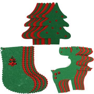DIY Christmas shapes hanging flags (three optional)