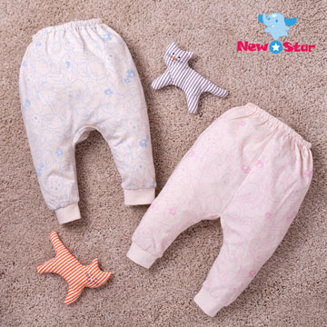 (New Star)Thin - organic cotton - newborn trousers (Floral) four-color, two size options