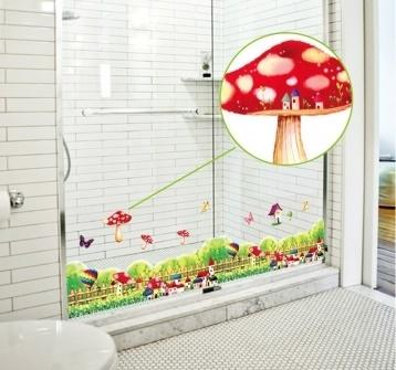 สติ๊กเกอร์ติดผนังสร้างสรรค์ iStyle Mushroom Baseboard