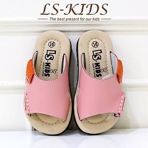 (LS-KIDS) [LS-KIDS] รองเท้าเด็กวัยหัดเดิน handcrafted - หนังลากแบบสบาย ๆ - ผงสตรอเบอร์รี่ (หนังเต็ม)