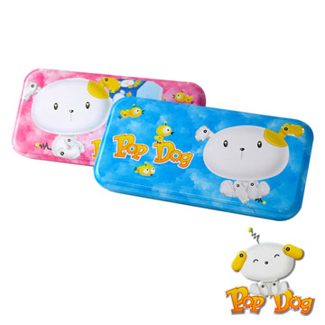 [Love] King Fu L & R double iron pencil case - Pink / Blue