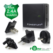 [TAITRA] Fonestuff - 5V/2.4A - Dual-USB Ports - Travel Set of Detachable Universal Adapter Plug