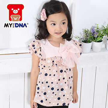 (MY+DNA)[MY + DNA Bear headquarters] big bow fly sleeve shirt - pink (D2158-11)