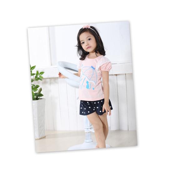 (MY+DNA)[Part] MY + DNA Bear umbrella sleeve lace blouse pick - pink (D2151-11)