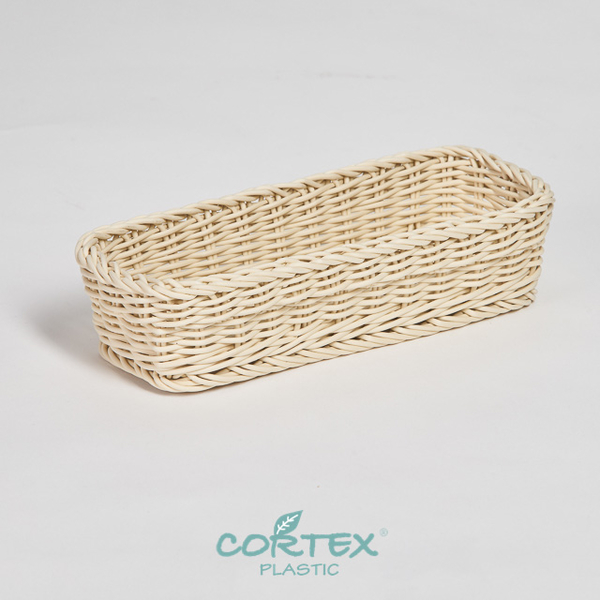 (CORTEX)CORTEX Washable PP rattan - Desktop cutlery basket beige rectangle 28cm