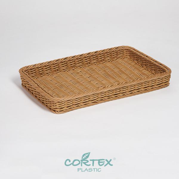 (CORTEX)CORTEX bread basket display (304 stainless steel strengthening) rectangular tray 50cm Khaki