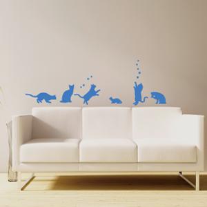 การออกแบบสมาร์ทสติ๊กเกอร์ติดผนังสร้างสรรค์ที่ไร้รอยต่อ◆แมวมีความสุขสีฟ้า