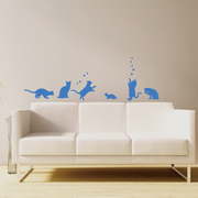 [TAITRA]  Smart Designสติ๊กเกอร์ติดผนังแบบสร้างสรรค์ ไม่ทิ้งรอย◆แมวน้อยที่มีความสุข สีน้ำเงิน