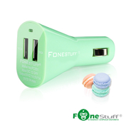Fonestuff บ้าเพชร 5V / 3.1a แบบ Dual USB ชาร์จในรถยนต์ (สีเขียว)