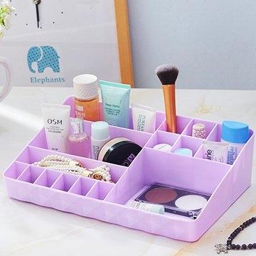 [TAITRA] Argyle Tabletop Long Cosmetics Storage Box - Purple